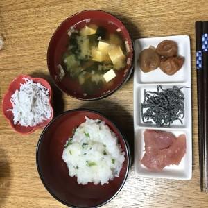 七草粥の朝食